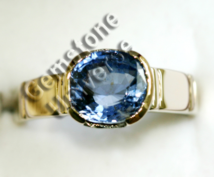 Ceylon Blue Sapphire of 3.62 carats set in 18ct White Gold Gents ring