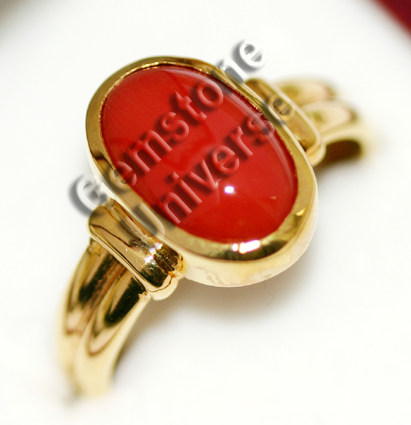 Mind blowing Japanese Red Coral of 4.97 carats set in 22KDM hallmarked Yellow Gold ring.gemstoneuniverse.com