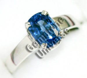 Unheated Blue Sapphire of 2.14cts set in Sterling Silver 925 Ring.Gemstoneuniverse.com