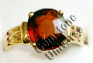 Natural Sri Lankan Hessonite set in 22KDM Gold Ring