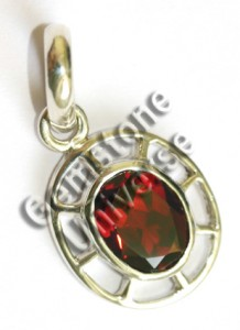 Fiery Intense Red Garnet set in Circle of Life Sterling Silver 925 Talisman, Exquisite. Gemstoneuniverse.com