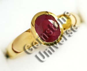 Natural Burma Ruby for Sun set in 22KDM Hallmarked Gold Ring. Gemstoneuniverse.com