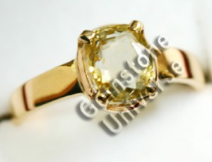 Unheated Sri Lankan YellowSapphire of 2.43ct set in 22KDM Gold Ring.Gemstoneuniverse.com