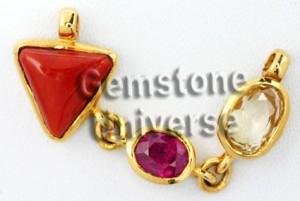 Gemstone Trinity Pendant/ Triratna Jyotish Talisman