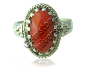 Natural Red Coral of 6.10 carats set in Antique Tibetan Style Silver ring!Gemstoneuniverse.com