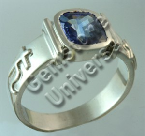 Blue Sapphire/Neelam-The Gemstone of Saturn/Shani-Unheated Blue Sapphire in Saturn Symbol Talismanic Ring