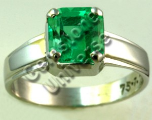 Rich Spring Green colored Colombian Emerald set in 18 K White Gold Ring.Gemstoneuniverse.com