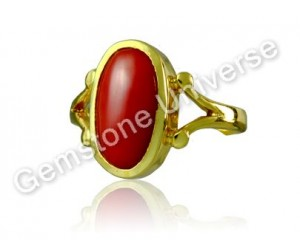 Finest Mediterranean Ox Blood Color Red Coral Gold Ring-Gemstoneuniverse.com