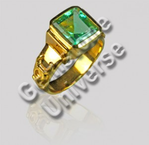 Natural Untreated Colombian Emerald Mercury Talisman ring-Gemstoneuniverse.com