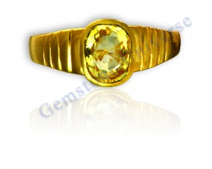 Finest Golden Yellow-Very Rare Yellow Sapphire Set in 22K Hallmarked ring. Kanakspushyaragam- Yellow Sapphire with a Golden Hue! Don't miss this color. Very difficult to get in an unheated gemstone! Yellow Sapphire the Gemstone of Jupiter!Gemstoneuniverse.com