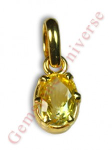 Lustrous, Auspicious and Benign Lustrous Unheated Yellow Sapphire set in 22K gold pendant. Yellow Sapphire the Gemstone of Jupiter-The planet of Good luck, knowledge and fortune!