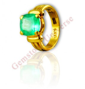 Gorgeous and resplendent spring green Colombian Emerald set in 22 K Gold ring. Gemstoneuniverse.com