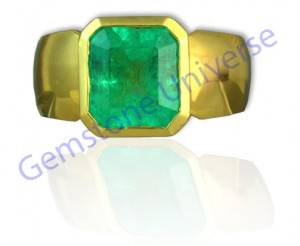 Ravishing Mercury Energies with a Colombian Emerald Gold ring in matte finish! Lovely Spring Green Muzo Mine Emerald! Massive 3.41 untreated and unenhanced Colombian Emerald