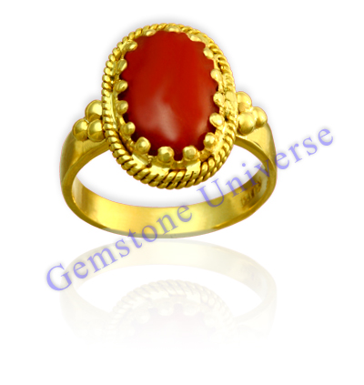 Organic Red Coral Awesome Antique Design Ring