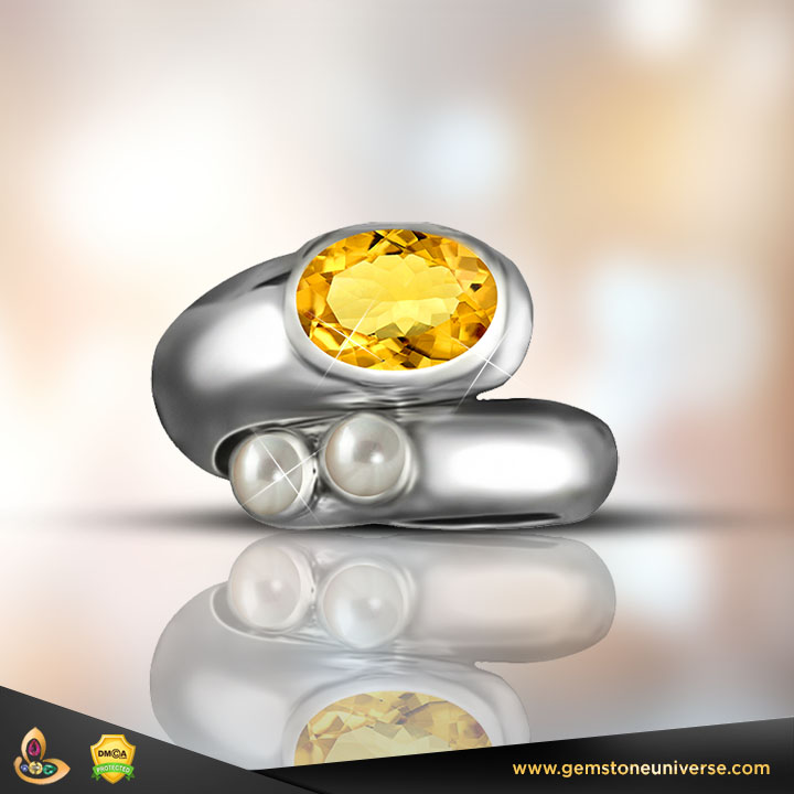 Yellow Sapphire with Pearls, gemstones of Jupiter and Moon
