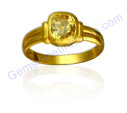 Golden Yellow Color Pukhraj Gemstone Pure Planet