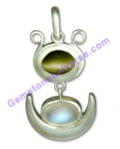 Natural Untreated Blue Moonstone of 4.57 carats and Indian Cats Eye 4.50 of carats Gemstoneuniverse.com