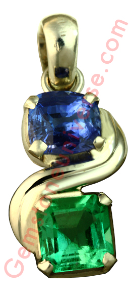 Natural Untreated Blue Sapphire of 2.60 carats and Natural untreated Emerald of 1.76 carats Gemstoneuniverse.com