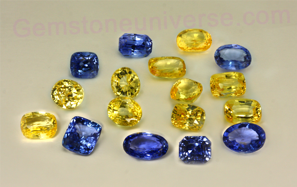 Natural Untreated Yellow Sapphire and Blue Sapphire Lot Demeter004-Gemstoneuniverse.com
