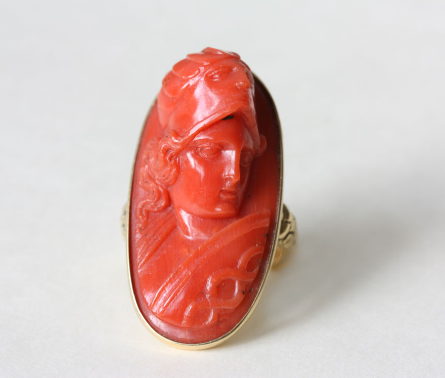 Fabulous Red Coral Cameo in 18 K Gold ring depicting the Goddess Minerva with her helmet and shield-Circa 1800-Gold Georgian Setting