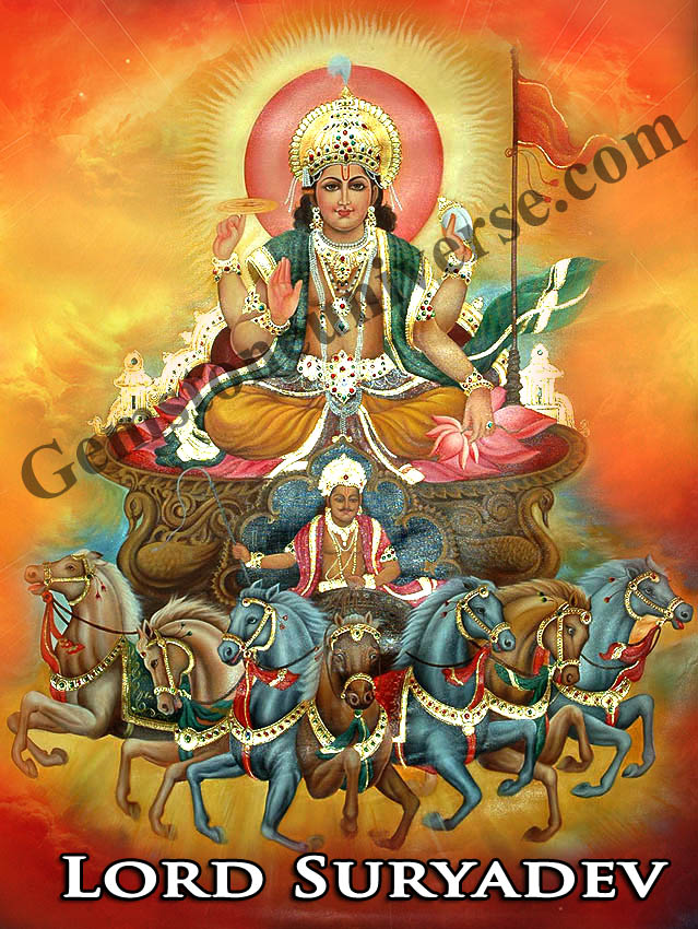 Lord Suryadev-The King Of planets in his Divine chariot gemstoneuniverse