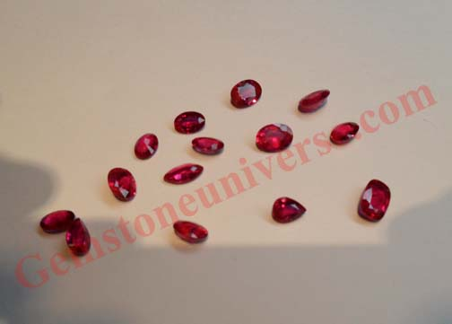 Unheated Mong Hsu Burma ruby small lot acquired by Gemstoneuniverse. Notice the color is finer than Mogok
