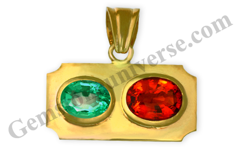 Natural Unenhanced Zambia Emerald of 2.64 carats and Natural Ceylon Hessonite of 3.72 carats Gemstoneuniverse.com