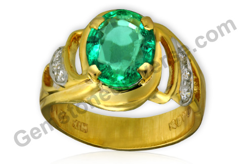 Natural Unenhanced Zambian Emerald of 1.99 carats and Natural Diamonds of 14 cents Gemstoneuniverse.com