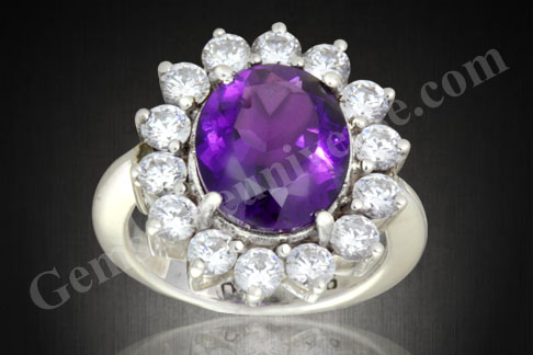 Natural Untreated  Amethyst of 4.22 carats with Diamond Simulants on lines of Princess Diana's engagement ring design.Gemstoneuniverse.com