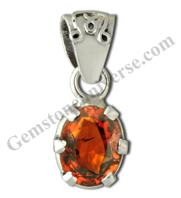 Natural and Untreated  Hessonite 3.51carats Set in Rahu Talisman Pendant Gemstoneuniverse.com