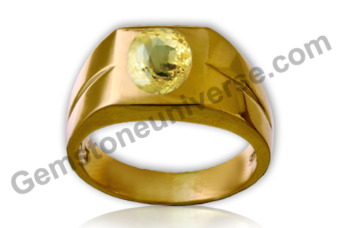 Natural and Untreated Yellow Sapphire 3.56 carats set in signet ring design.Gemstoneuniverse.com