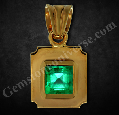 Natural and Unenhanced Colombian Emerald 2.07 carats set in 22K Gold Pendant.Gemstoneuniverse.com