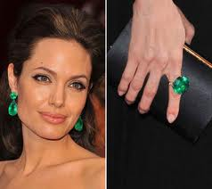 Angelina Jolie wearing Emerald Jewelry