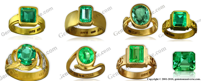 Notice some of the Emeralds rings already featured on the Gemstoneuniverse blog. You can search the blog and you shall also get the pricing for each of these rings. See and evaluate how hue, tone and saturation affect the price.