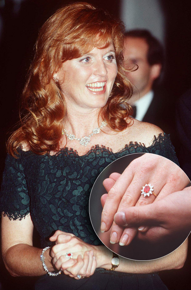 Sarah Ferguson  sporting the Ruby and Diamonds Engagement ring