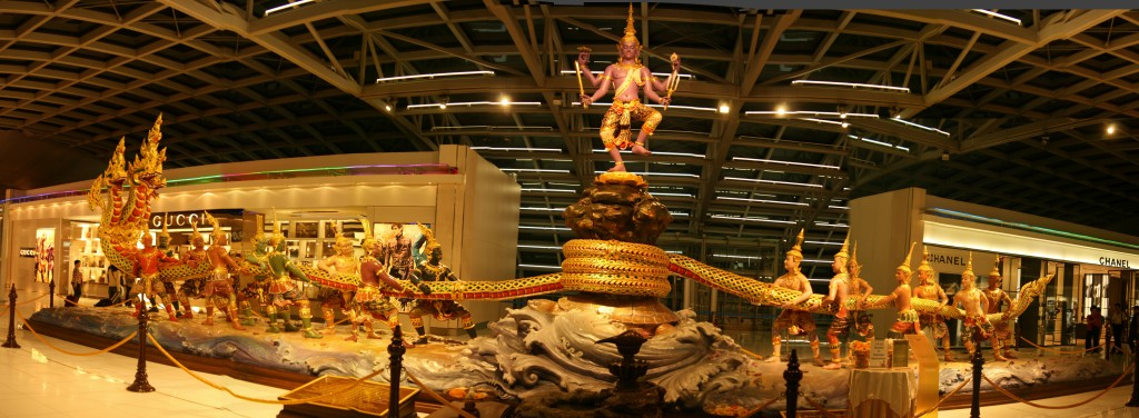 Beautifully Sculpted representation of the Samudramanthan at the Suvarnabhoomi Airport, Bangkok. Thailand is the world's hub for gem trade