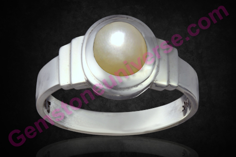 Natural Pearl of 3.27 carats set in silver ring  Gemstoneuniverse.com