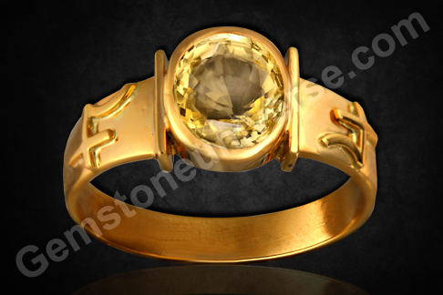 Yellow Sapphire Pukhraj of 2.28 carats set in gold ring Gemstoneuniverse.com