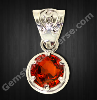 Cinnamon stone Hessonite Garnet -Gomed-The Gemstone of Rahu set in Talismanic Pendant