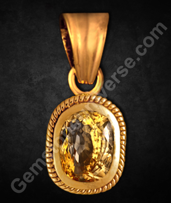 Yellow Sapphire Pendant Unheated Sri Lanka Pukhraj for Jupiter