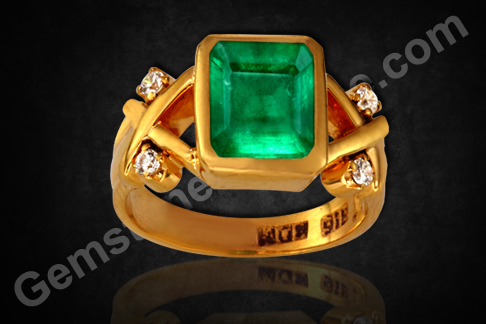 Indian Astrology ring for Mercury & Venus Vedic Gem Panna ring