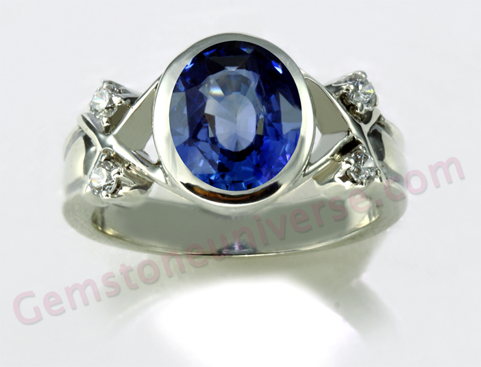 A Blue Sapphire with Kashmir Blue Color. Unheated Ceylon Blue Sapphire of 3.22 carats