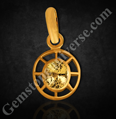 Dharma wheel Pendant Chakra Therapy Yellow Sapphire Gemstone
