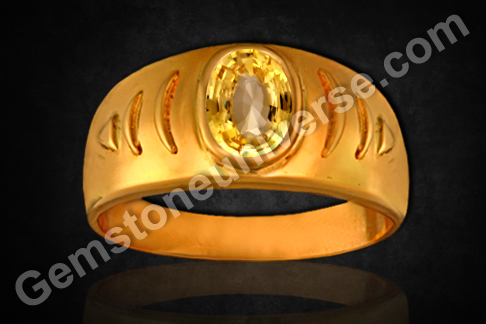 Vedic Gemstone Ring Yellow Sapphire for Jupiter