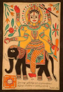 Devguru Brihaspati depicted in a madhubani Painting