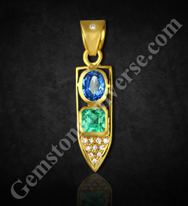 Natural Blue Sapphire of 1.70 Carats & Natural Emerald Of 1.50 Carats Gemstoneuniverse.com
