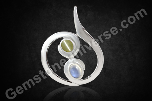 Natural Chrysoberyl Cats eye of 1.73 carats & Natural Blue Moonstone Of 2.62 Carats Gemstoneuniverse.com