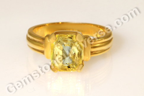 Natural Yellow Sapphire of 3.40carats Gemstoneuniverse.com