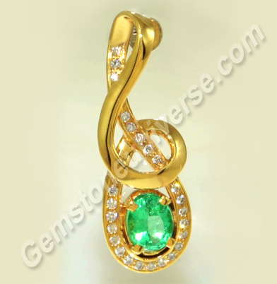 Musical Note Design Pendant with 2.04 carat Natural Colombian Emerald and Diamonds