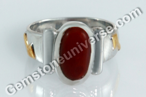 Sacred Herbal Ash Ring for Mars Red Coral Set with the Khadira Herb